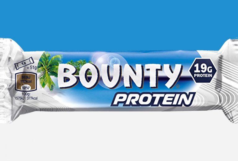 Baton proteinowy Bounty mający  19 g białka i niecałe 200 kalorii