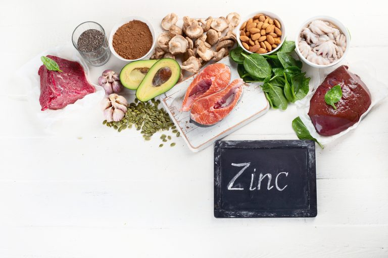 Foods High in Zinc. Healthy diet concept.