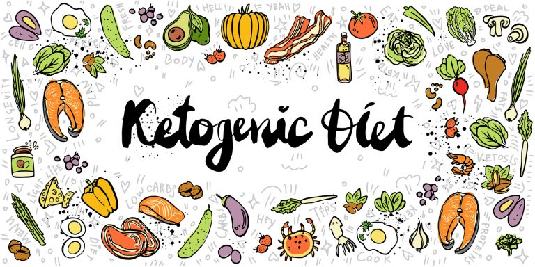 Ketogenic Diet vector sketch banner illustration. Healthy keto food with texture and decorative elements - fats, proteins and carbs on one Keto vector illustration. Low carbs ketogenic diet food isolated on white background. Cartoon sketch keto food, bann