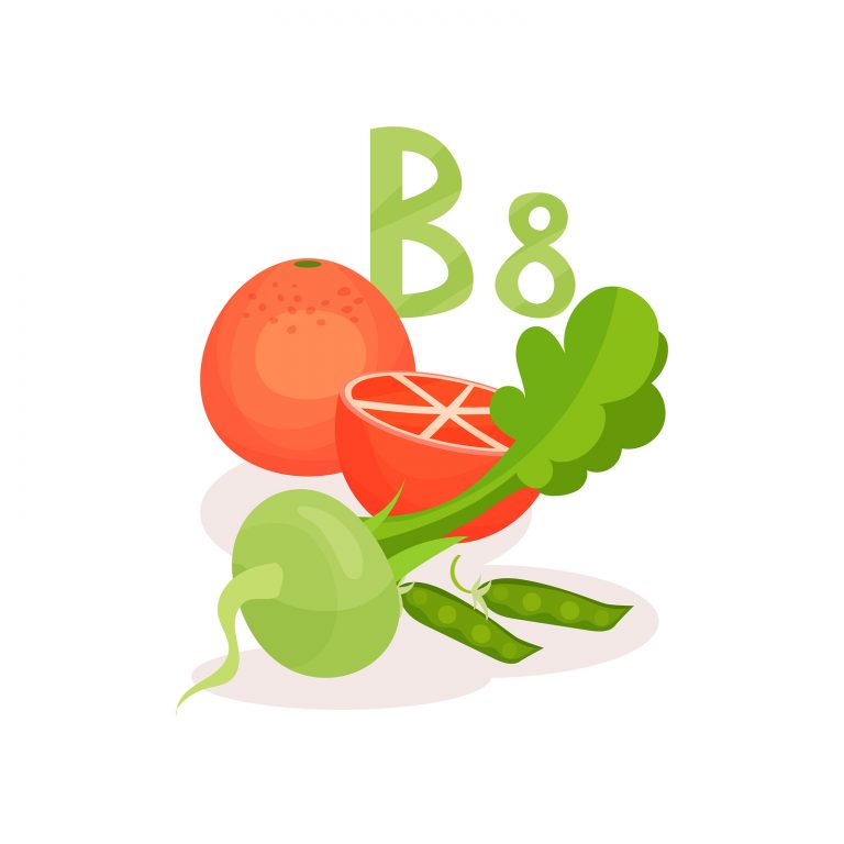 Products with vitamin B8 inositol . Green peas, radish and juicy grapefruit. Organic and healthy food. Flat vector design
