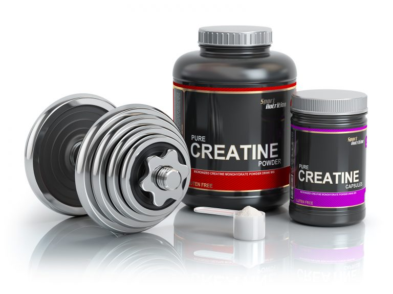Creatine powder with scoop and dumbbell.Bodybuilder nutrition(supplement) concept. 3d illustration.