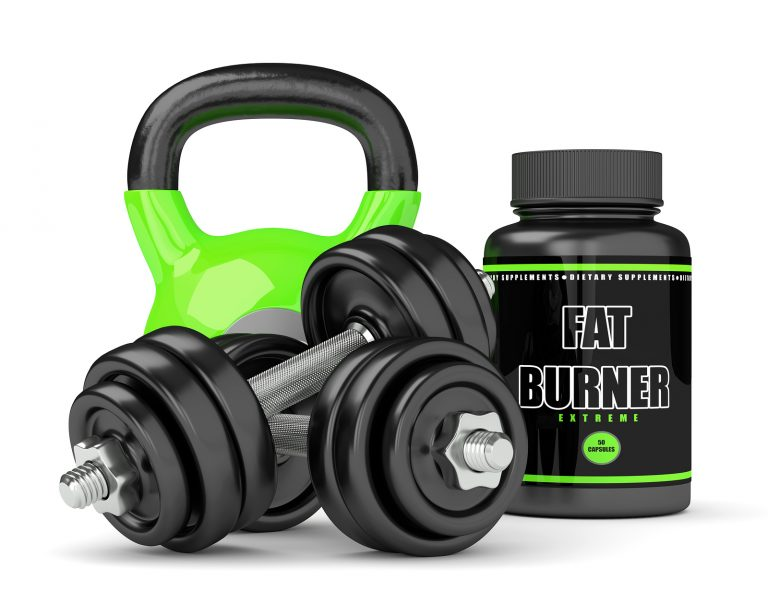 3d render of fat burner bottle with dumbbells and kettlebell isolated over white background