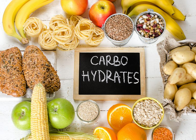 Foods Highest in Carbohydrates. Healthy diet concept. Top view