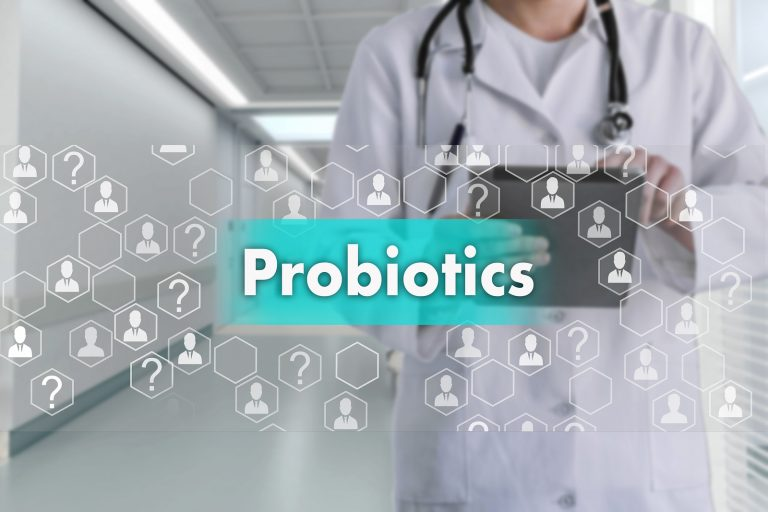 Probiotics on the touch screen with icons on the medicine background blur Doctor in hospital.Innovation treatment, service, health data analysis. Medical Healthcare Concept of the of Probiotics