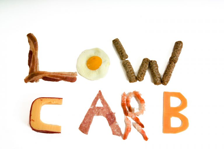 letters made up by low carb food stuffs