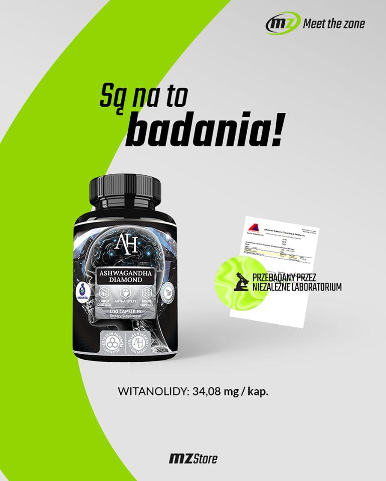 Ashwagandha Diamond została przebadana przez niezależne laboratorium kliniczne które potwierdziło wysoką zawartość witanoloidów w ekstrakcie Ashwagandhy