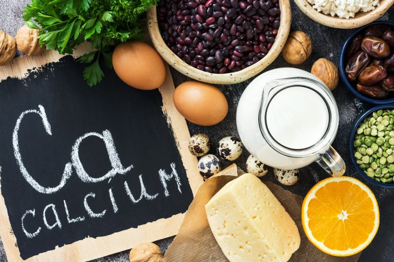 Food with calcium. Products rich in calcium. The view from above, flat lay