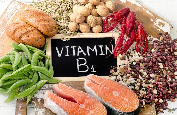 Foods Highest in Vitamin B1 (Thiamin). Healthy diet eating. Top view