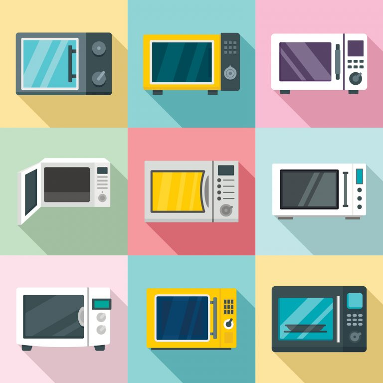 Microwave icon set. Flat set of microwave vector icons for web design