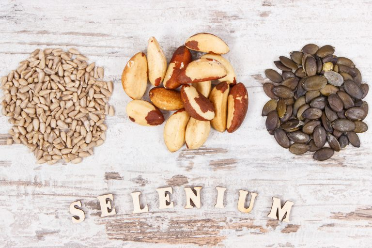 Natural products and ingredients containing selenium, dietary fiber and minerals, concept of healthy nutrition