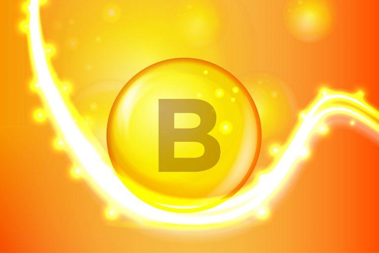 Vitamin B gold shining pill capcule icon . Vitamin complex with Chemical formula