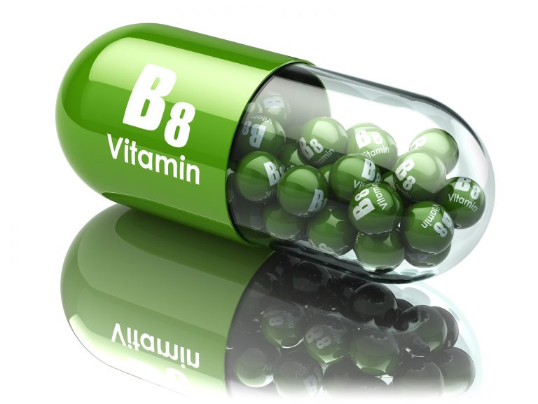Vitamin B8 capsule. Dietary supplements. 3d illustration