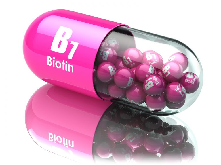 Vitamin B7 capsule. Pill with biotin. Dietary supplements. 3d illustration