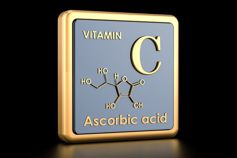 Vitamin C, ascorbic acid. Icon, chemical formula, molecular structure. 3D rendering