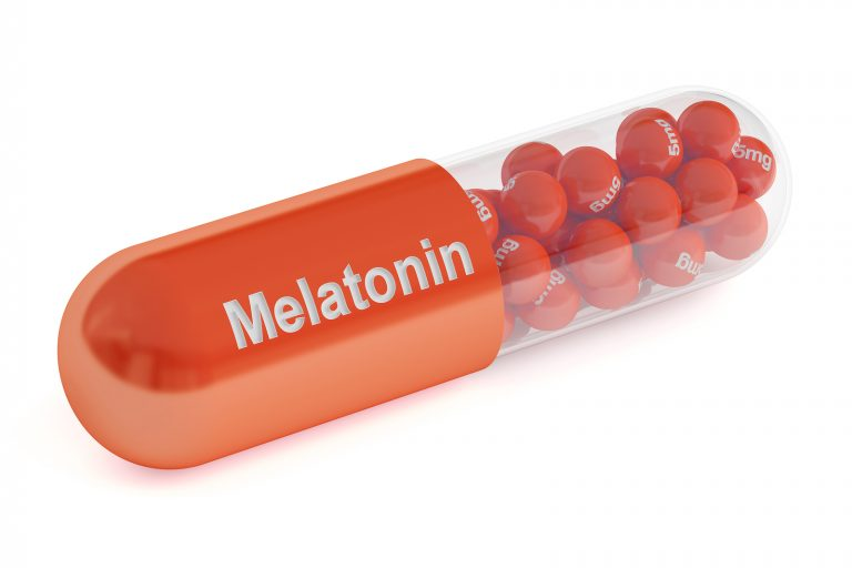 Melatonin capsule 3D rendering isolated on white background