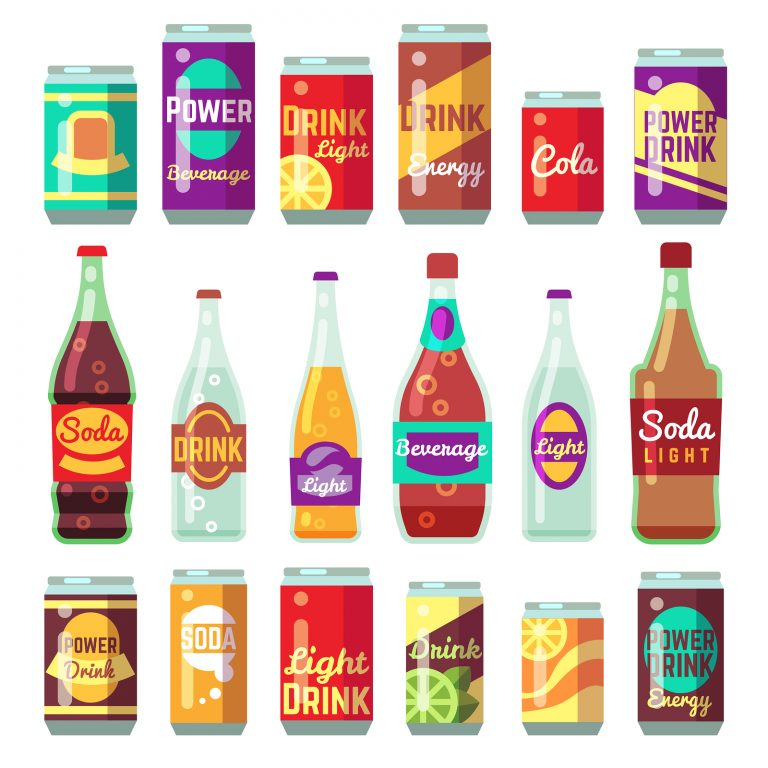 Beverage soft and energy drinks vector flat icons. Drink bottle and can set. Bottle with beverage and drink water in glass bottle illustration