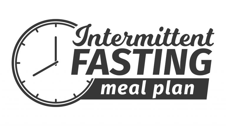 Logo of Intermittent fasting meal plan. Clock face symbolizing the principle of Intermittent fasting. Infographic. Vector illustration in black and white.