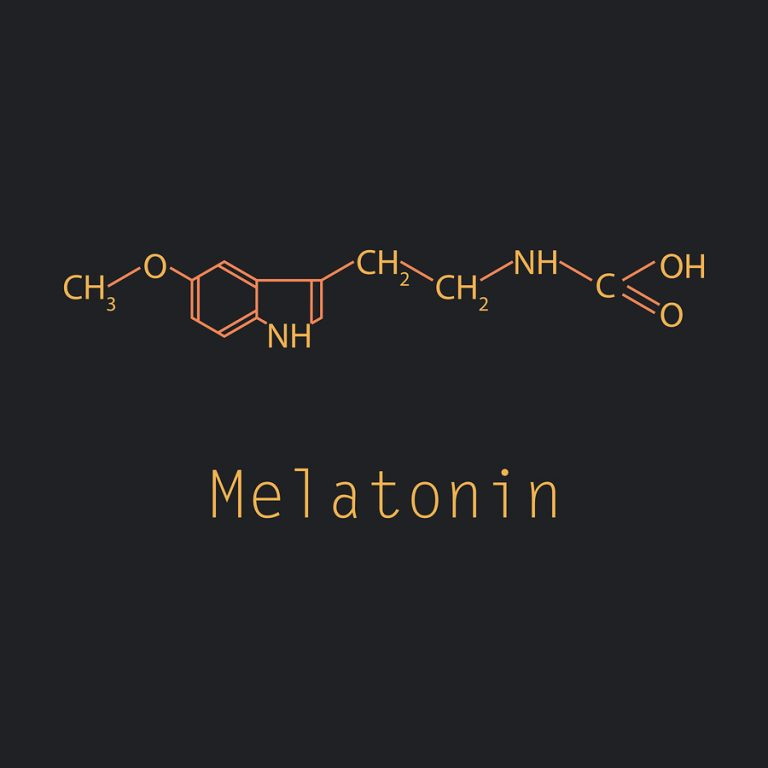 Melatonin hormone molecule. In humans, it plays a role in circadian rhythm synchronization. Skeletal formula.