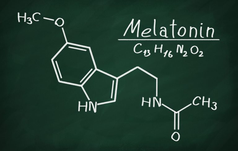 Structural model of Melatonin on the blackboard.