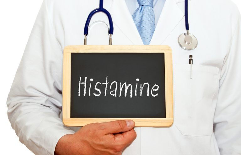 Histamine - Doctor with chalkboard on white background