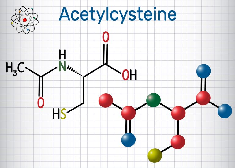 Acetylcysteine (N-acetylcysteine, NAC) drug molecule. Structural chemical formula and molecule model. Sheet of paper in a cage. Vector illustration