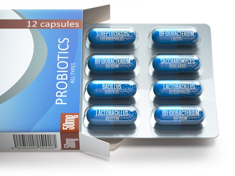 Probiotics. Blister box with all types of probiotics capsules. Pills with bifidobacterium, lactobacillus, sacchaomyces and othes bacillus. 3d illustration