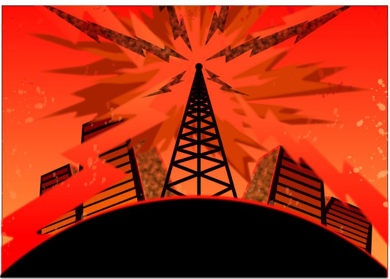 Telecommunications tower with signals over urban background