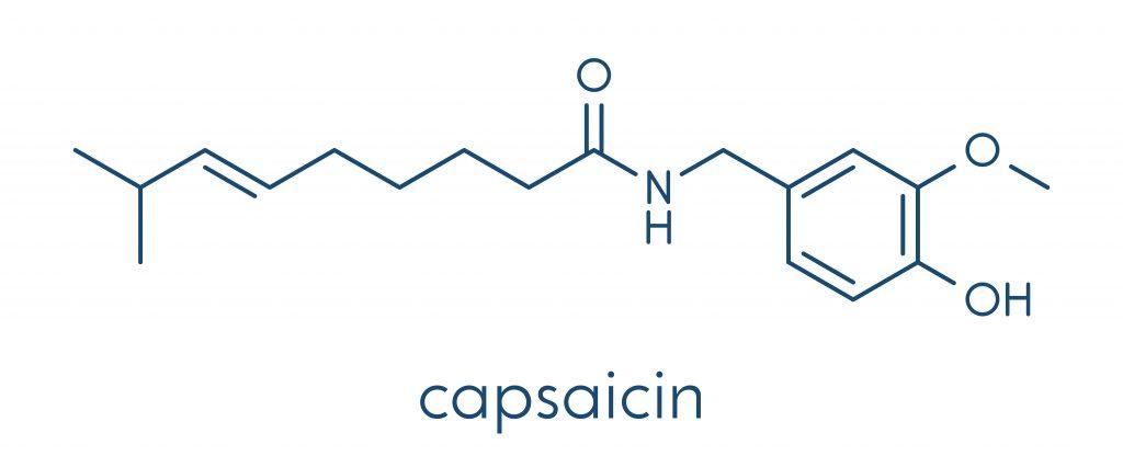 Wzór strukturalny kapsaicyny - głównego składnika aktywnego znajdującego się w papryce.