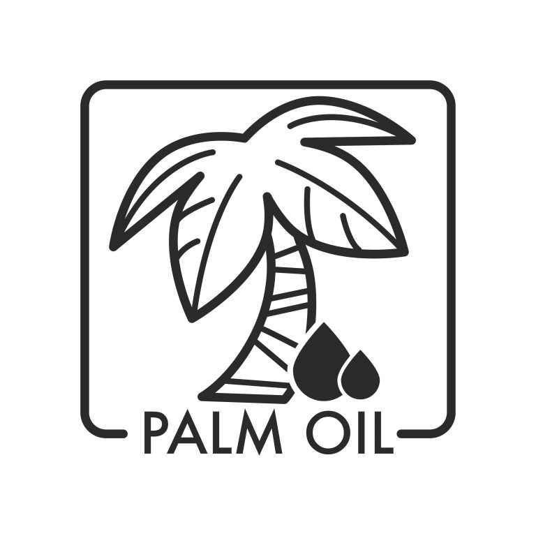 Palm oil with oily liquid and tree with branches